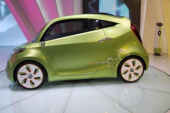 Der Chana Green-i EV ist einer von vielen chinesischen Kleinwagen, die auf der Auto China für Aufsehen sorgen.