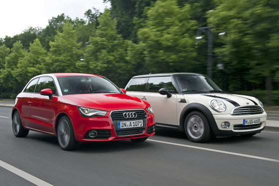 Querdynamik bleibt die Domäne des Mini, aber der Audi A1 ist ganz nahe dran.