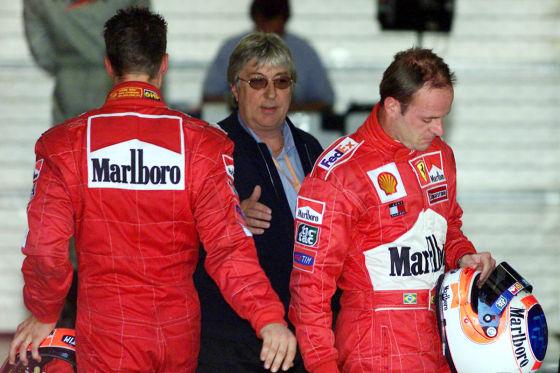 Michael Schumacher und Rubens Barrichello 2002 in Spielberg