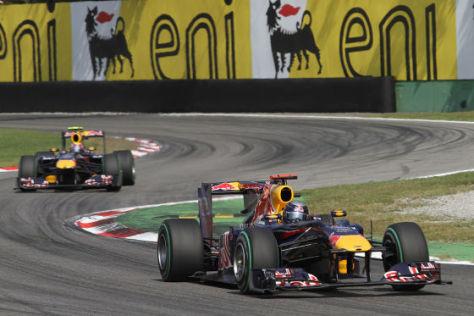 Sebastian Vettel in Monza vor Teamkollege Mark Webber