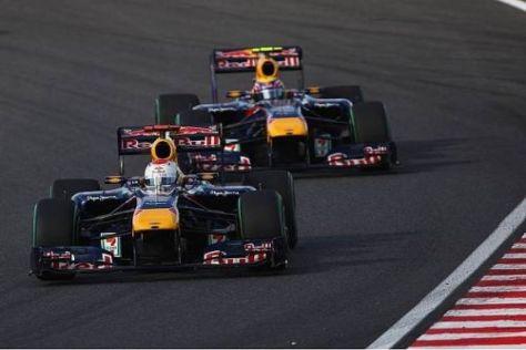 Kein Vorbeikommen: Mark Webber musste sich in Suzuka hinter Vettel anstellen...