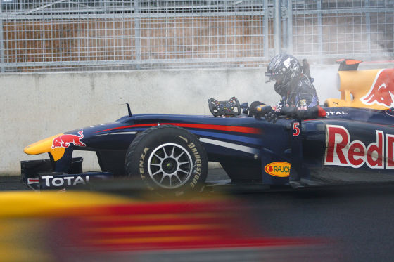 Sebastian Vettel nach seinem Motordefekt in Korea