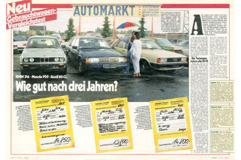 BMW 316, Mazda 929, Audi 80 CL