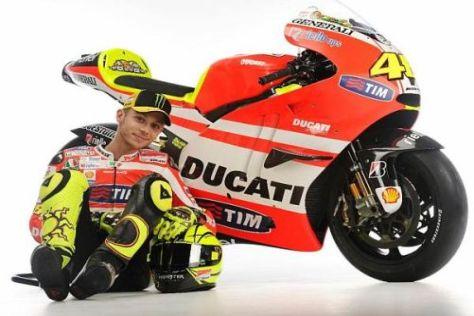 Die Flügel an der Seitenverkleidung sind ein auffälliges Merkmal der Ducati GP11