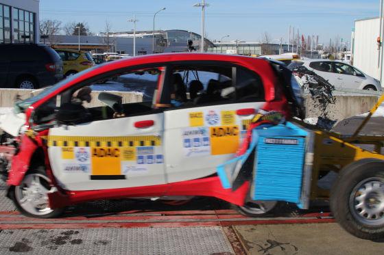 Mitsubishi i-MiEV im Crashtest