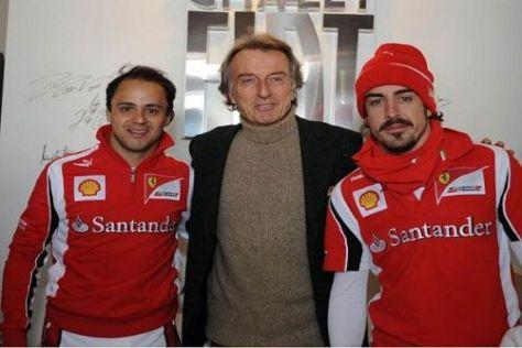 Luca di Montezemolo mit seinen beiden, auch noch nicht alten, Fahrern