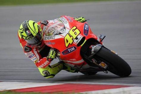 Valentino Rossi ist bisher nicht auf schnelle Rundenzeiten gekommen