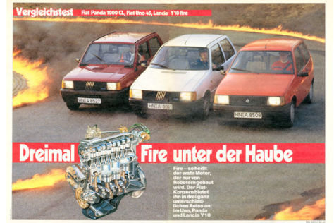 Fiat Panda 1000 CL, Fiat Uno 34, Lancia Y10 fire