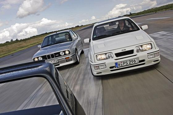 BMW M3, Ford Sierra RS Cosworth und Mercedes 190 E 2.5-16 EVO II