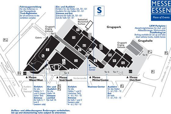 Das Messegelände: Zwölf Hallen, riesige Freigelände auf insgesamt 130.000 Quadratmeter Fläche.