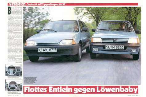 Citroën AX gegen Peugeot 205