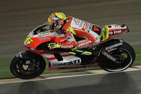 Im ersten Rennen für Ducati mühte sich Valentino Rossi zu Platz sieben