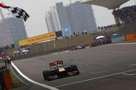 Sebastian Vettel passierte die Zielflagge erstmals in diesem Jahr nur als Zweiter