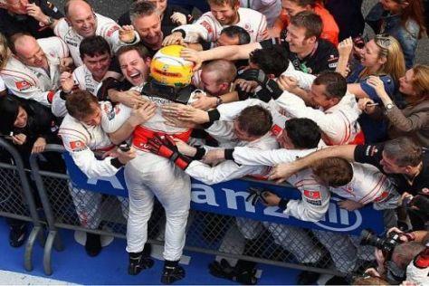 Lewis Hamilton und seine Crew: In China demonstrierten sie perfektes Teamwork