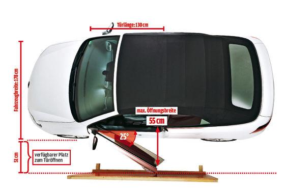 Parkpl tze zu eng f r moderne autos t ren test mit 50 for Garage audi 93